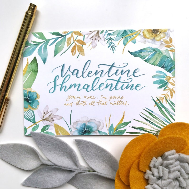 Floral Cheeky Valentines Greeting Card Hand Lettering PRINTABLE Valentine/'s Day Card Card for Partner Instant Download