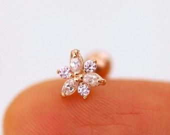 Pink Daffodil Flower Earring, conch flower earring, march birthday gift, march flower stud, dainty earrings, spring flowers cartilage studs