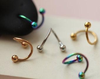 18g Spiral Cartilage Earrings, Twirl hoops, swirl daith hoop spiral rook rainbow twirl helix earring, secure spiral hoop, huggie twist hoops