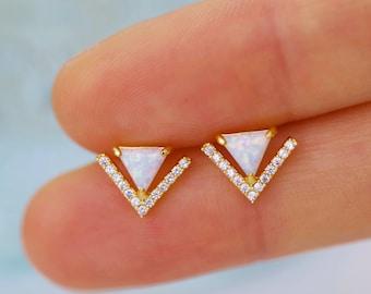 Opal Stud Earrings Sterling Silver Blue Opal Earrings White Opal Earrings Bridal Bohemian Opal Jewelry Opal Earrings