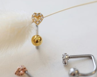 16g Heart Medusa Lip Piercing, tiny Lippy Loop Labret, surgical steel bar, mini heart lip labret ring, silver, gold ring, rose gold lip ring