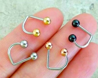 16g Lip Ring Labret, 4mm ball classic lip ring, medusa lip piercing, basic lip jewelry, silver, black, gold, rose gold simple lip piercing
