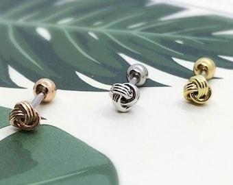 Mini Knot cartilage earring, small tragus earring, dainty barbell knot stud, helix daith conch earring, tiny twist tragus earring, medusa