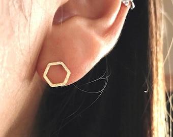 Hexagon Stud Earrings Solid Hex Shape Single Earring,Hexagon Shaped Minimalist Studs,Geometric Earrings,Copper Hexagon Jewelry,Dainty Stud