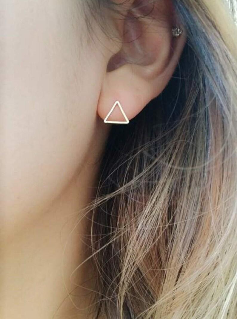Triangle Earrings  simple stud earrings simple silver image 0
