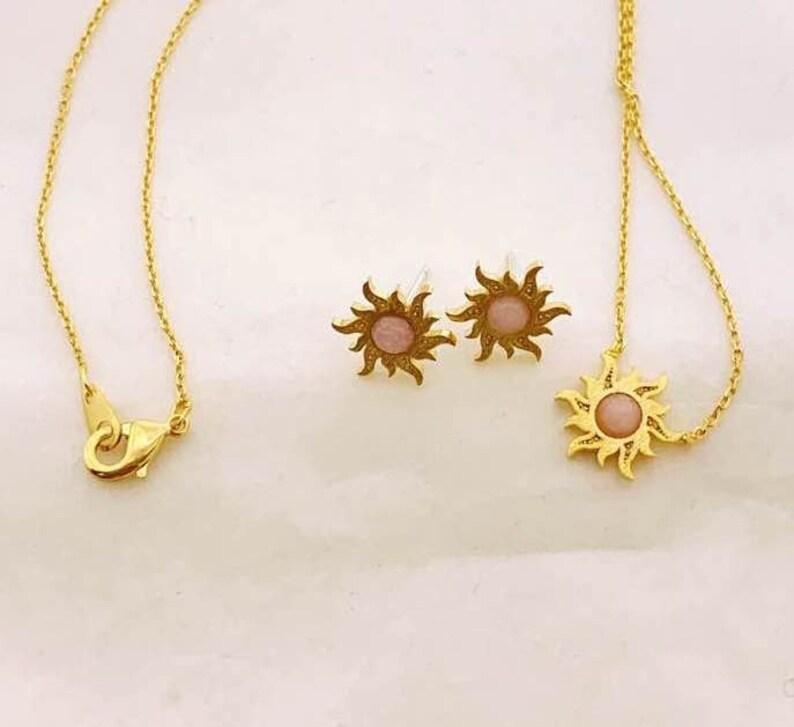 dainty gold necklace rose quartz studs Gold Sun necklace dainty gold jewelry set gold sun studs Chrysoprase studs pink blue jewelry