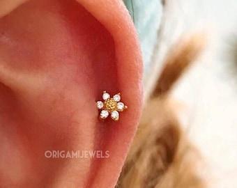 CZ Mini Sunflower cartilage earring, 16g 18g 20g tragus earring, dainty flower barbell, helix daith conch earring tiny flower tragus earring