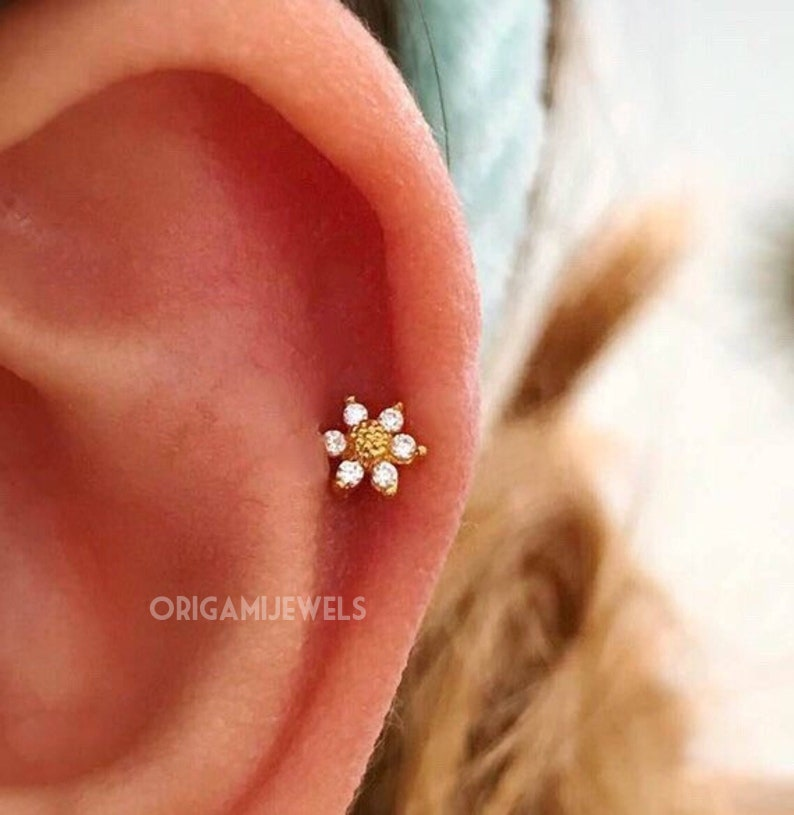 1b747969a CZ Mini Sunflower cartilage earring 16g 18g 20g tragus | Etsy