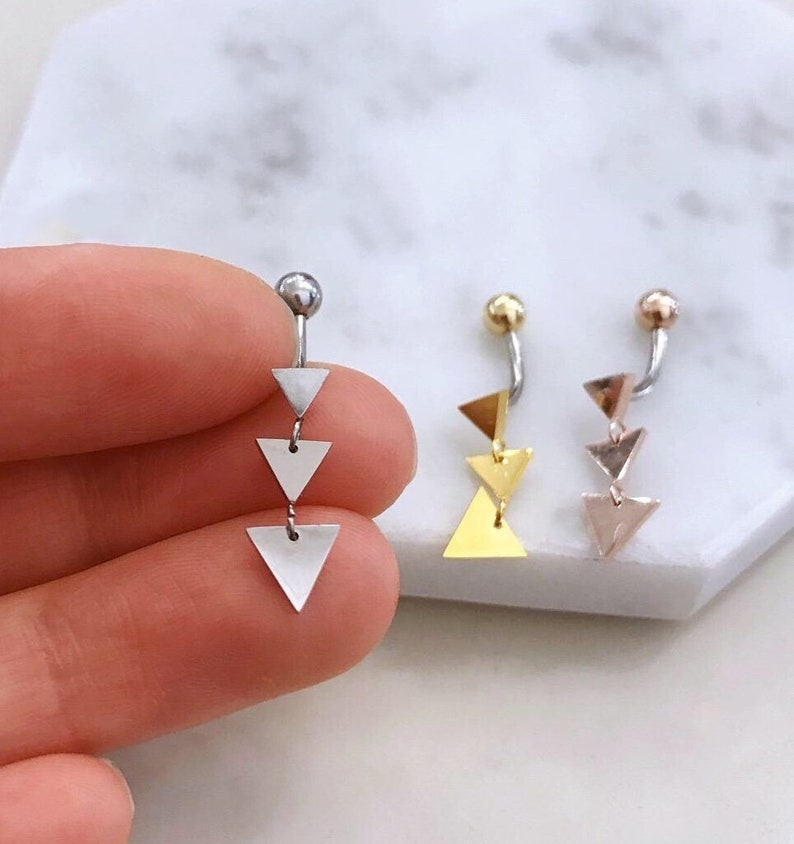 Triangle Dangle Belly Button Ring Rose Gold Belly Ring Gold Belly Rings Small Belly Rings Dainty Naval Ring Silver Dangle Belly Jewelry