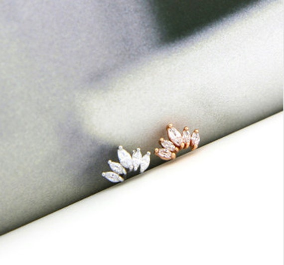 Cz Crown Cartilage Stud Simple Tragus Earring Flat Back Etsy