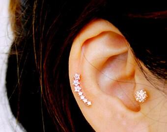 CZ Dainty curved cartilage earring, fashion earrings, cute ear sweep, ear Climbers, delicate earrings, dainty earring, star line earring