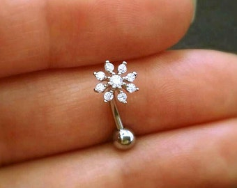 CZ Snowflake Belly Button Ring, floating navel ring flower belly ring, gold belly rings, small belly rings, belly piercing, belly jewelry