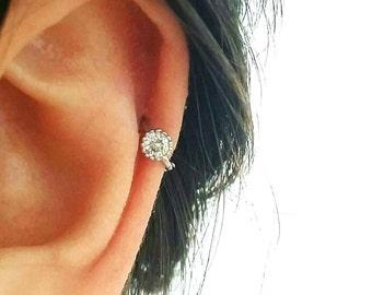 CZ Simple cartilage hoop, silver cartilage hoop, Tragus piercing ring, tragus earring, hoop ring, simple hoops, endless hoop, circle tragus