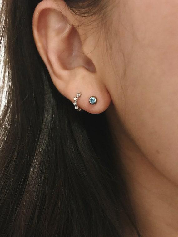 TRAGUS BAR LABRET STUD EAR PIERCING STUD STEEL 16gauge x 7mm LIP PIERCING