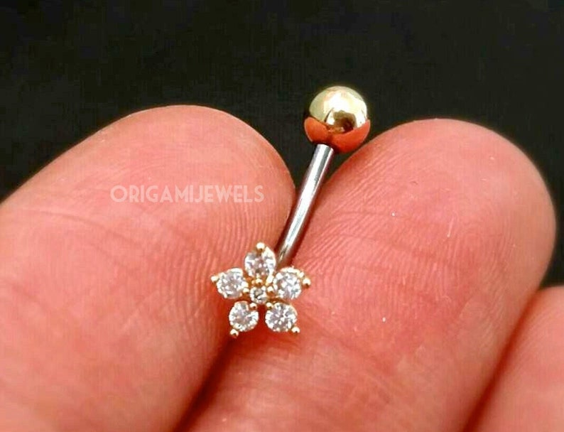 CZ Flower Belly Button Ring floating navel ring dainty belly image 1