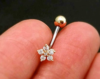 CZ Flower Belly Button Ring, rose gold flower belly ring, gold belly rings, small belly rings naval ring belly piercing belly jewelry