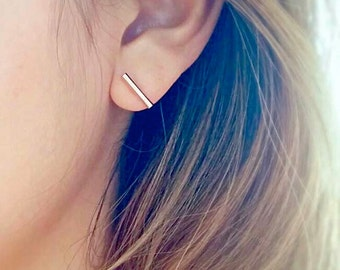 Bar Earrings | simple stud earrings, simple silver bar earrings, simple gold earrings, Minimalist Earrings, line earrings, gold bar earrings