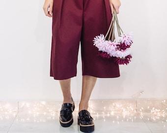 culotte pants, vintage pants, retro pants, casual pants, pleated shorts, women's trousers, wide leg trousers, comfy pants, beige pants