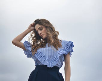 women's top, ruffle top, light blue top, striped top, summer blouse, romantic top, boho blouse, short sleeves, vintage look, spring top.