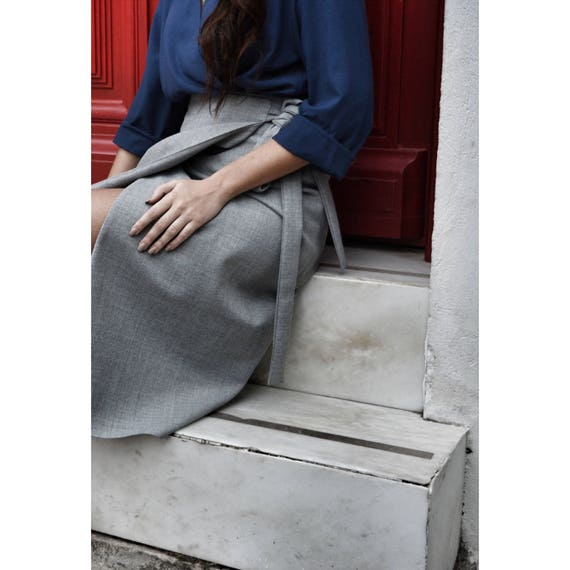 skirt skirt on business length midi skirt skirt skirt grey skirt office sexy Folded skirt pull skirt skirt wool knee dpwq0AqYx