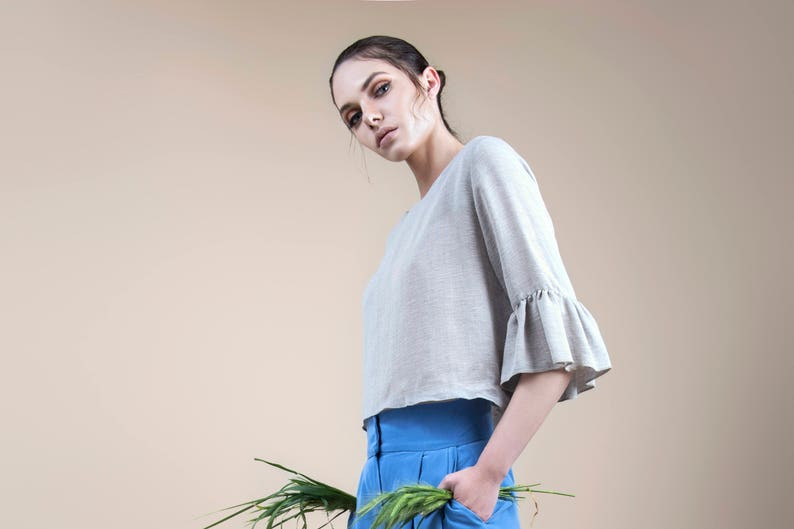 romantic summer top chic blouse Minimal top summer crop top grey top cropped blouse transparent top ruffled blouse romantic blouse