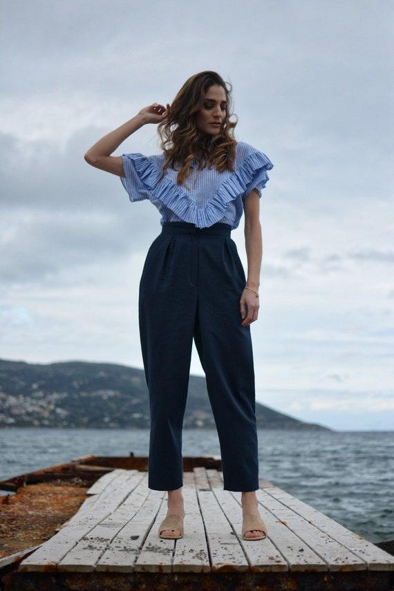 office elegant pants pants fit pants leg look summer pleated pants wide pants pants pants blue pants dark blue Work loose PxwB0zq5I