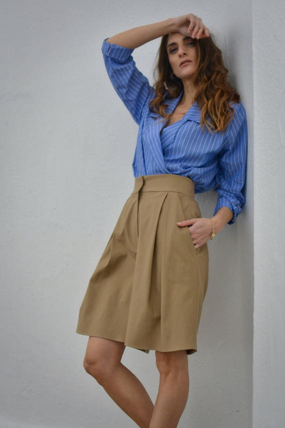wide shorts shorts shorts summer high safari waisted casual pants pants leg shorts shorts Culottes pants fit boyfriend loose pleated xAYqHw8