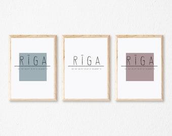 Rīga (pilsētas nosaukums un koordinates) 3 krāsu varianti