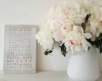 1 Corinthians 13 LOVE IS PATIENT love is kind Inspirational Wooden Signs White Interior Wedding Gift Bedroom Art Scripture Home Wall Decor