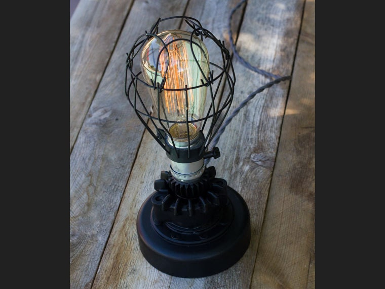 Small black industrial modern lamp with edison bulb and wire cage small black industrial modern lamp with edison bulb and wire cage and motorcycle parts aloadofball Choice Image