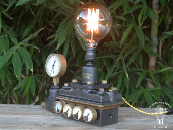 Industrial Black Lamp Made from Vintage Regulator with Gauges and Edison  Bulb Steampunk