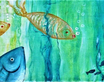 "Acrylic painting ""Back to basics"", work in the series ""like a fish in water""."