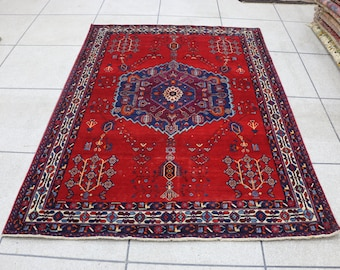 """5x7 Persian rug, red and blue vintage Persian rug, 5x7 Persian area rug. Size: 160 cm x 217 cm - 5'3"""" x 7'1"""""""