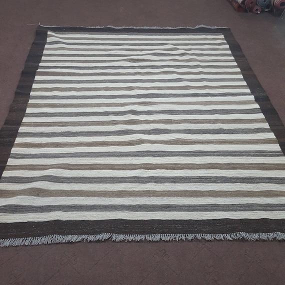 6x8 Neutral Color Striped Area Rug Neutral Kilim Rug Neutral Color Striped Dhurrie Rug Size 6 2 X 8