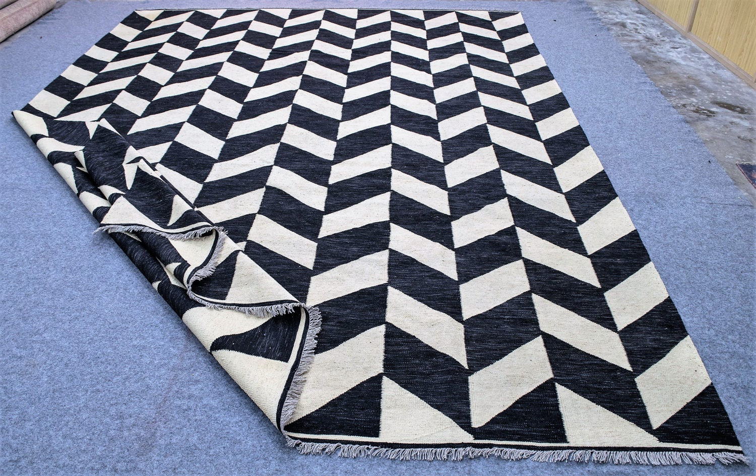 Made To Order Black And White Ivory Dhurrie Rug White