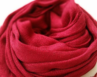 Bright Red Shimmery scarf/hijab with tassels