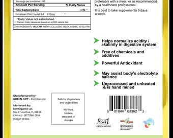 Live Organics Pink Himalayan Salt Capsules 850 mg 90 >180 ct. Hand Mined