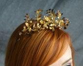 Gold Tiara, golden wedding, Great Gatsby, Vintage Wedding, Dainty Tiara, Vintage Grooms Corsage, Bridal Headpiece, fairytale bride