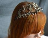 Tiara and Corsage, Myrtle silver Jewellery, Wedding Tiara 1880, German Wedding Headdress, Boho Bridal Tiara