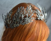Myrtle Tiara, Myrtle Bridal Crown, Antique Headpiece, Wedding Crown, Celestial Wedding Tiara, German Wedding Headdress, Dark floral Tiara