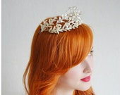Wedding Tiara with Silver Corsage in antique round Jewelry Box