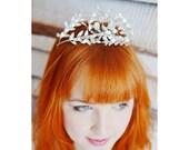 Antique German Leaf Tiara, Silver Metal Myrtle Crown, Edwardian Tiara, Silvered Wedding Headpiece in Antique Wooden Jewelry Box