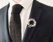Silver Groom Corsage, vintage floral groom, vintage wedding, myrtle sprays, groom lapel pin, , groom boutonnière, Victorian groom, art deco
