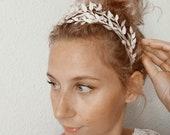 Tiara Antique, Silver Corsage, original Glassdome, 800 Silver Lapel Pin, German Headdress, Myrtle Tiara Glassdome, Vintage Wedding gift