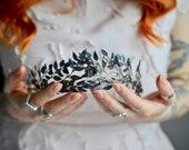 Myrtle Tiara for bride with hidden Picture, antique german Tiara