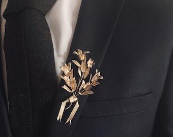 Myrtle Boutonniere, Vintage Wedding Silver Lapel Pin