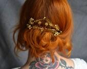 Floral Crown, Mermaid Crown, Fairy Tiara, Boutonniere, wedding gift, Gold Tiara, art deco headpiece, Leaf Crown, Antique Bridal Headpiece