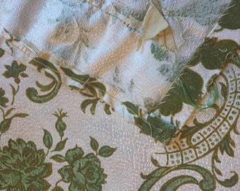 Olive Brocade Fabric pieces from Drapes - 4 pieces