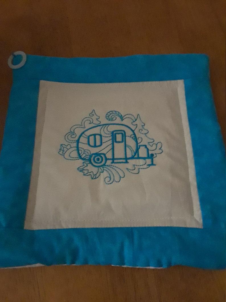 fabric trivet Pot holders camper embroidered potholders quilted pot holders mug rug