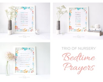 Trio Of Nursery Bedtime Prayers Printable Digital Print Owl Art Decor Girl